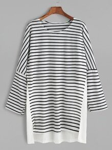 Buy White Contrast Striped Drop Shoulder High Low Tee Dress