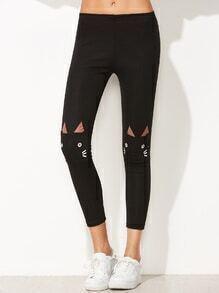 Leggings con gato en la rodilla con bolsillos - negro