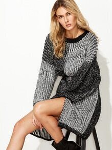 Contrast Dropped Shoulder Seam High Slit Front Long Sweater
