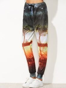 Print Tie Waist Beam Port Pants