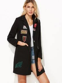 Black Single Button Embroidered Patches Pockets Coat