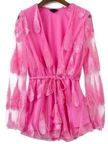 Buy Pink Feather Detail Deep V Neck Self Tie Romper