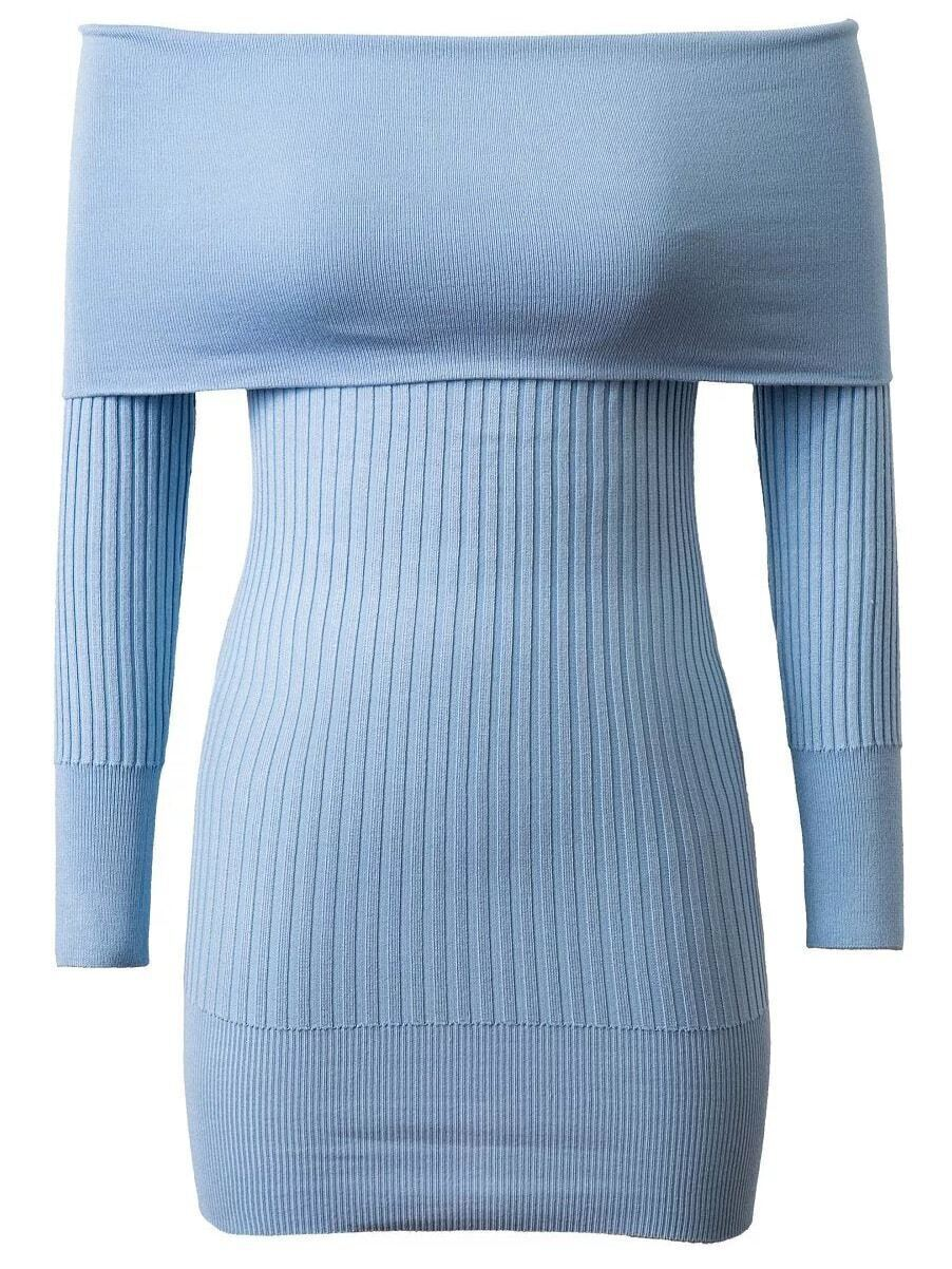 Blue Ribbed Off The Shoulder Knit Bodycon Dress