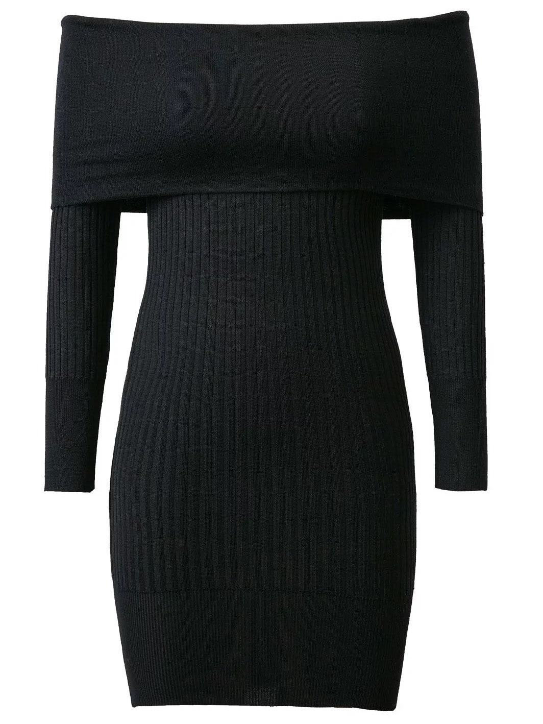 Black Ribbed Off The Shoulder Knit Bodycon Dress