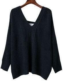 Navy V Neck Lace Up Back Drop Shoulder Sweater