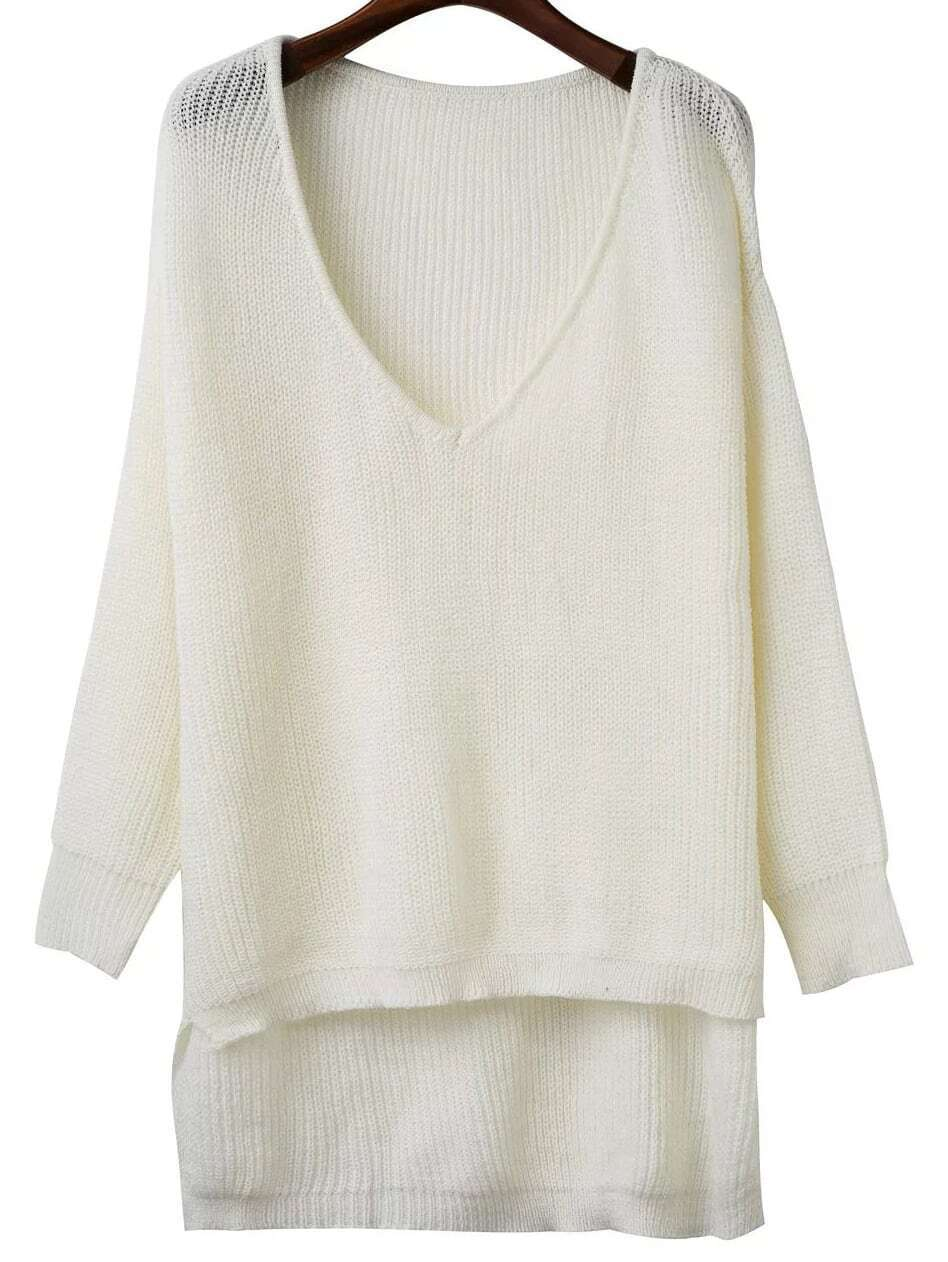 White V Neck High Low Knitwear