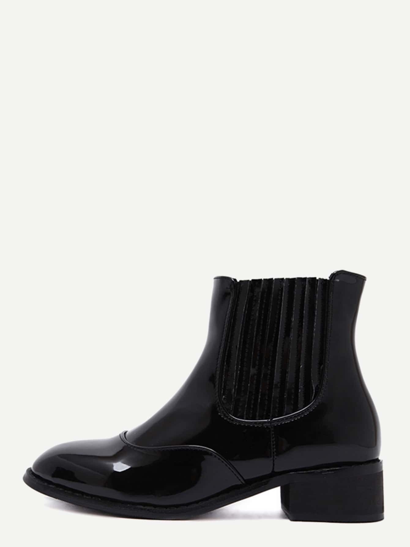 black patent leather almond toe chelsea boots