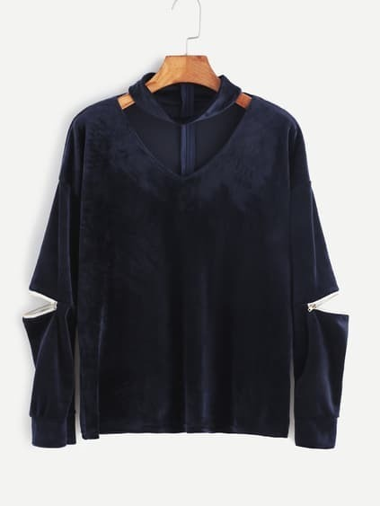Navy Cutout Zipper Detail Velvet Sweatshirt