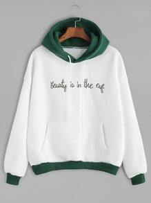 Sweat-shirt couleur bloc en broderie slogan avec capuche