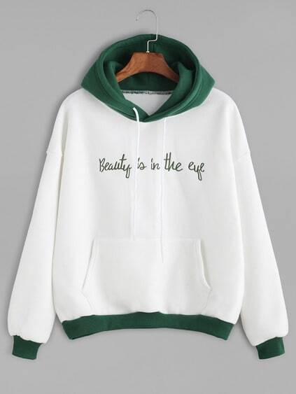 Sudadera con bordado de slogan y capucha - color block