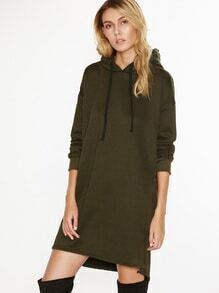 Army Green Split Side Drawstring Hooded Sweatshirt Dress
