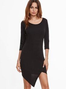Black Asymmetric Hem Zipper Back Sheath Dress