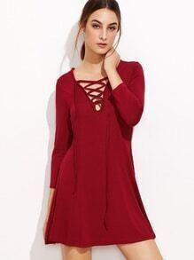 Burgundy V Neck Lace Up A Line Dress