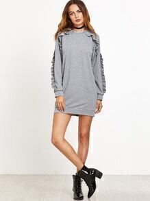 Robe sweat-shirt à volants - gris