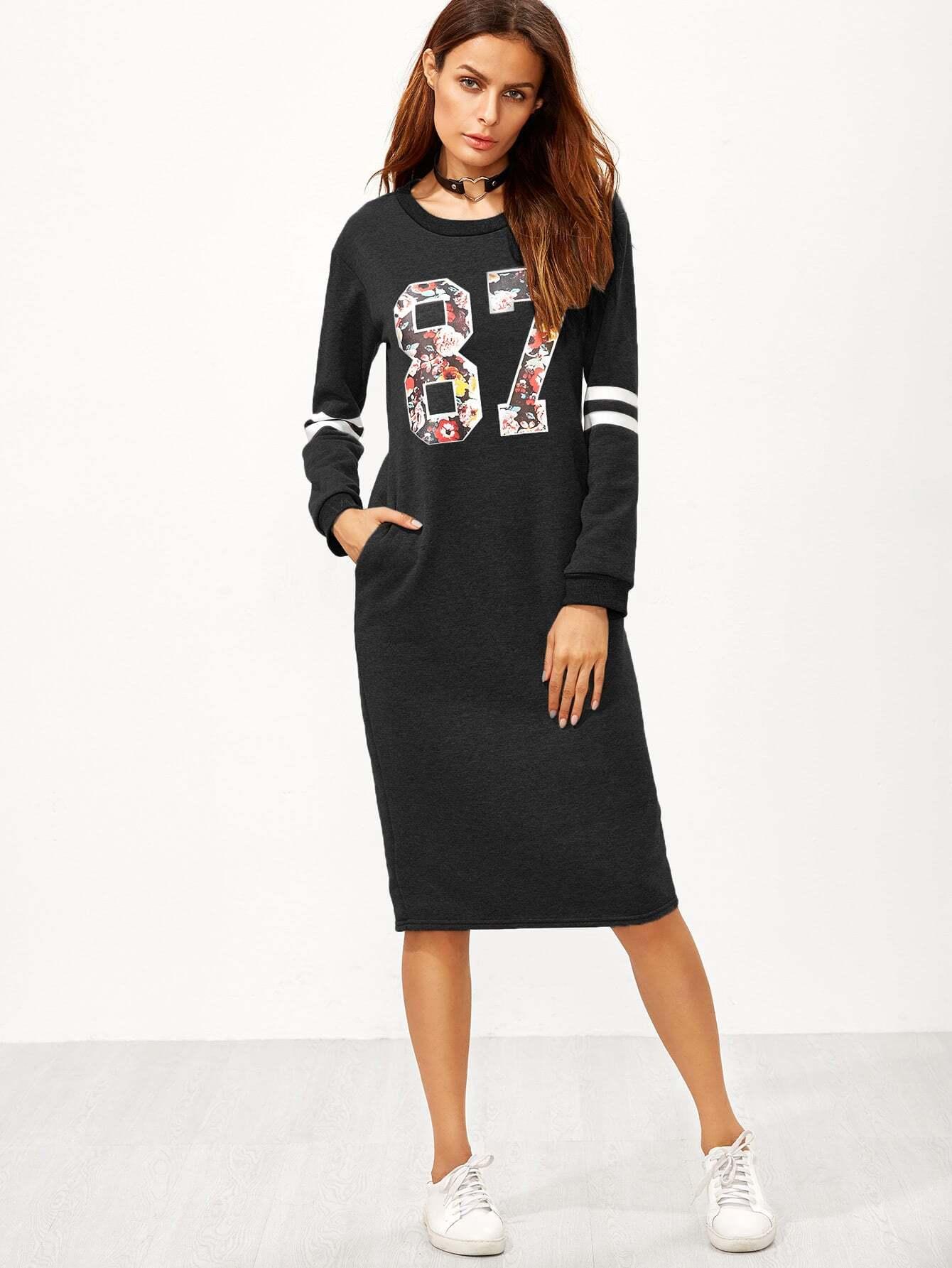 Sweatshirt Kleid mit Reißverschluss Baseball Druck-schwarz