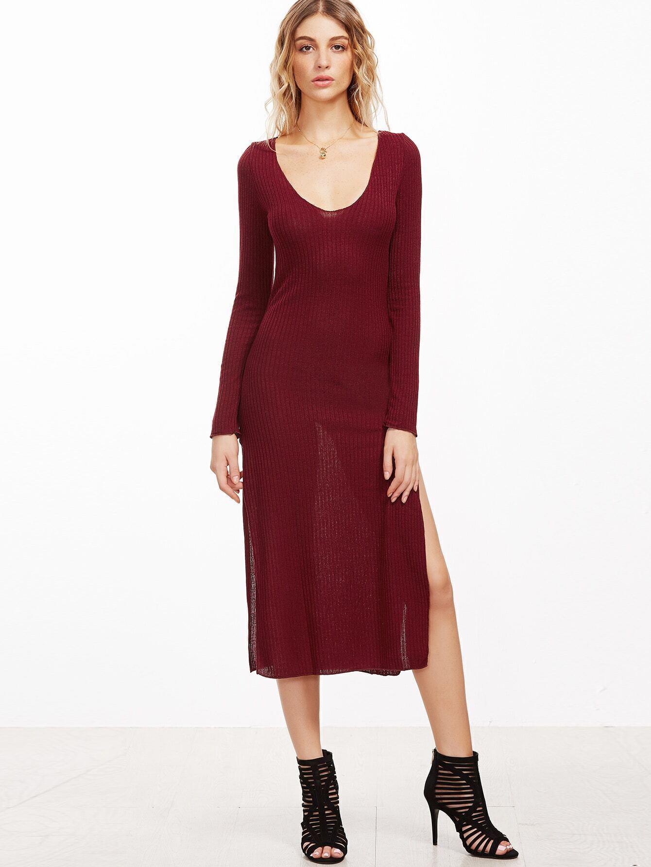 Burgundy Ribbed Slit Side Dress