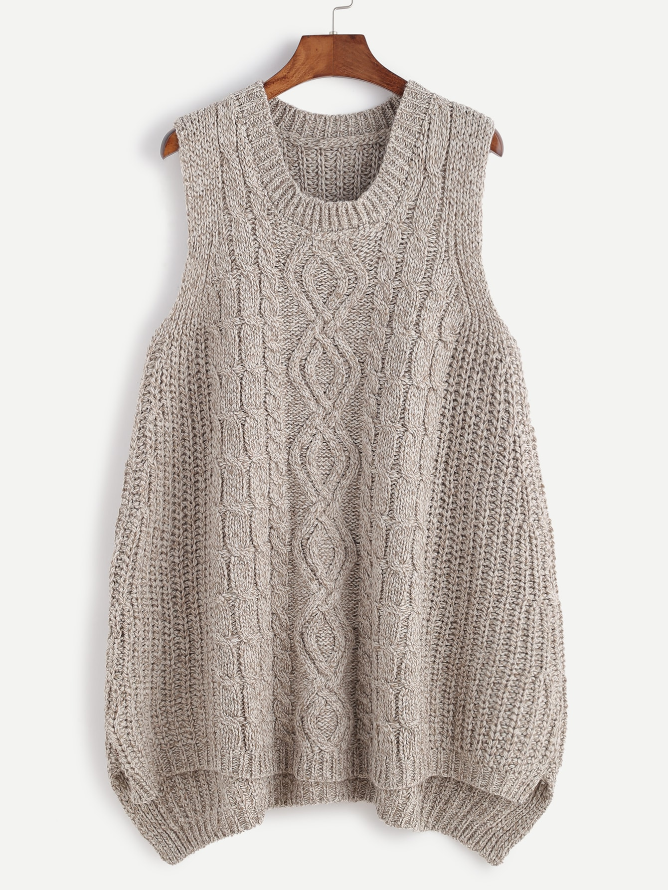Khaki Slit Side High Low Cable Knit Sweater Vest