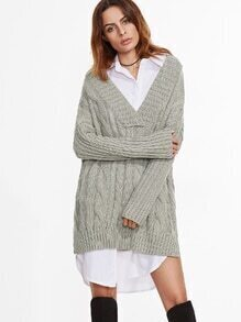 V Neck Drop Shoulder Slit Side Cable Knit Sweater