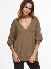 Khaki Drop Shoulder Cut Out Loose Sweater