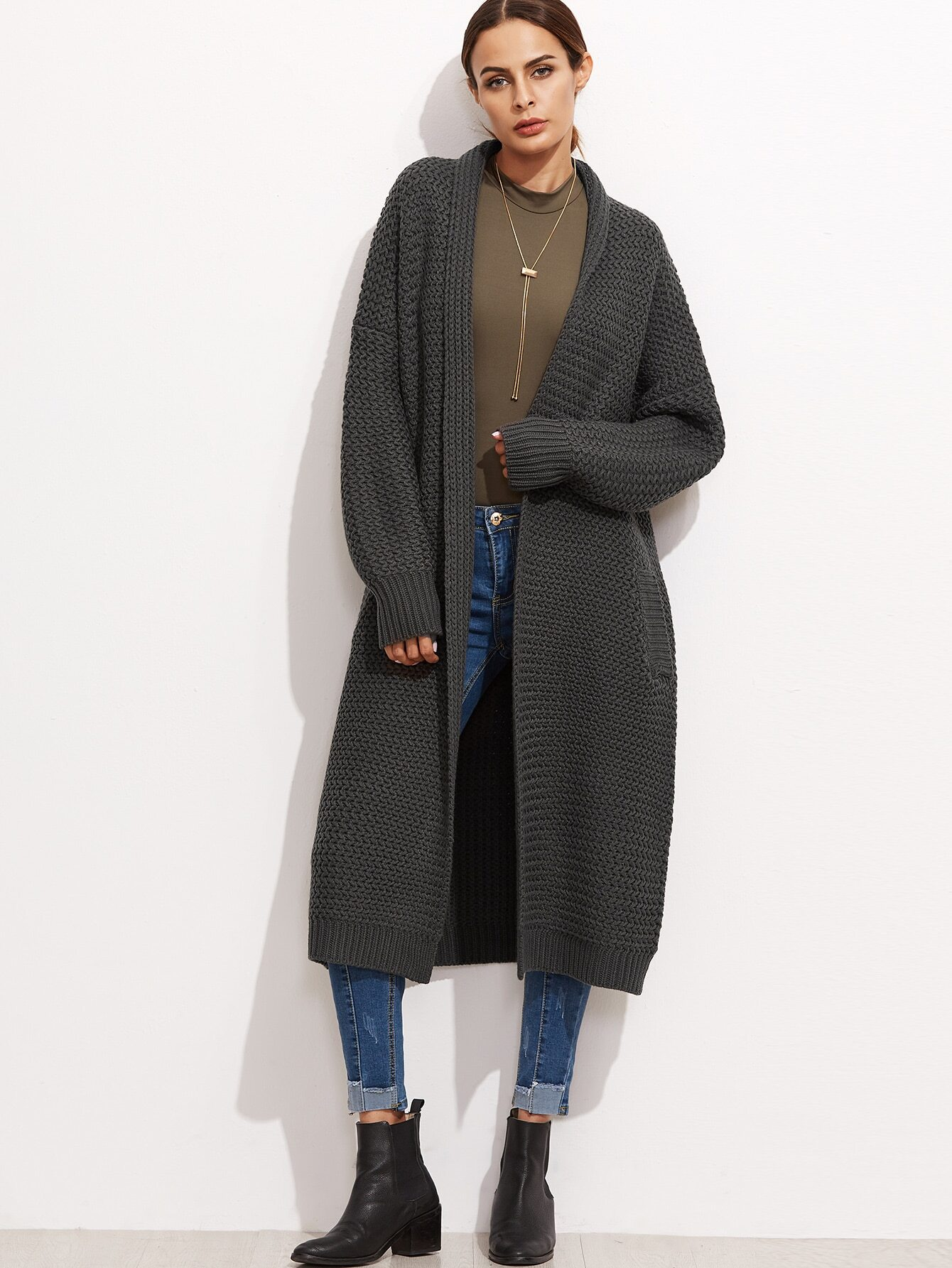 Dark Grey Open Front Drop Shoulder Long Sweater Coat