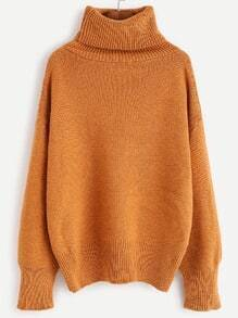 Khaki Turtleneck Drop Shoulder Sweater