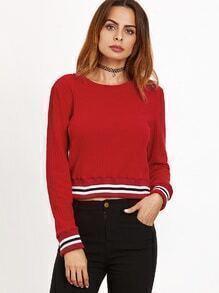 Jersey corto ribete de rayas - rojo
