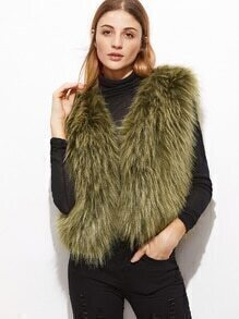 Army Green Faux Fur Vest