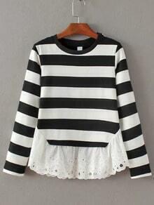 Camiseta de rayas con encaje - negro blanco