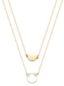 Gold Double Layer Geometric Round Necklace