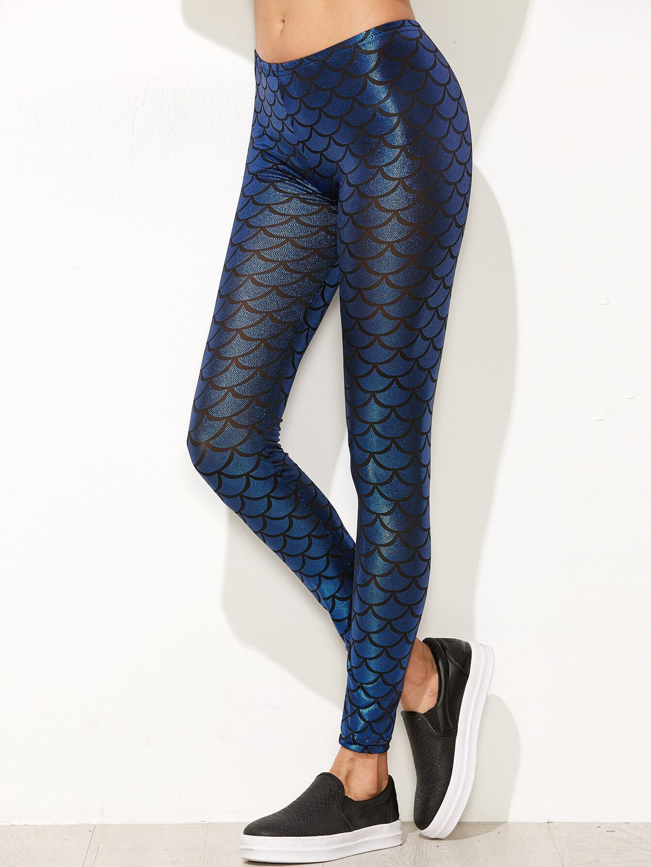 blue fish scale print leggingsfor women romwe