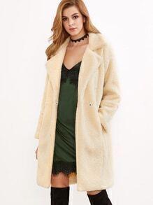 Veste en fausse laine avec bouton - abricot
