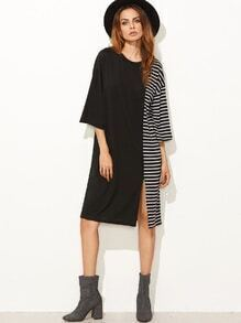 Contrast Striped Slit Hem Tee Dress