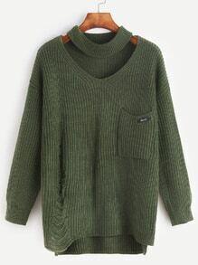 Pullover Cut-Outs Schlitz Seitlich Vorne Kurz Hinten Lang-grün