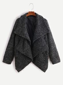 Dark Grey Double Collar Asymmetric Sherpa Coat