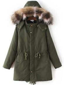 Army Green Drawstring Waist Hooded Coat With Faux Fur