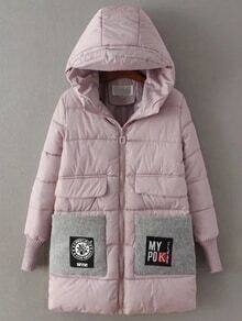 Pink Hooded Padded Coat With Patch Pocket