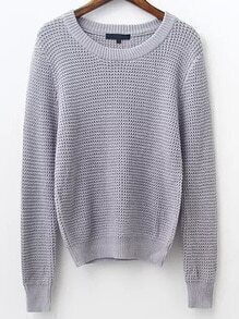 Grey Waffle Knit Ribbed Trim Sweater
