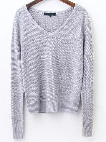 Grey V Neck Ribbed Trim Knitwear