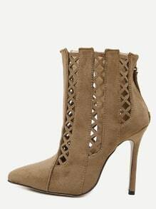 Brown Cutout Point Toe Stiletto Suede Booties