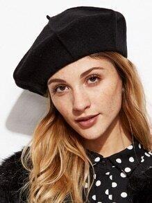 Black Stylish Soft Beret Hat For Women