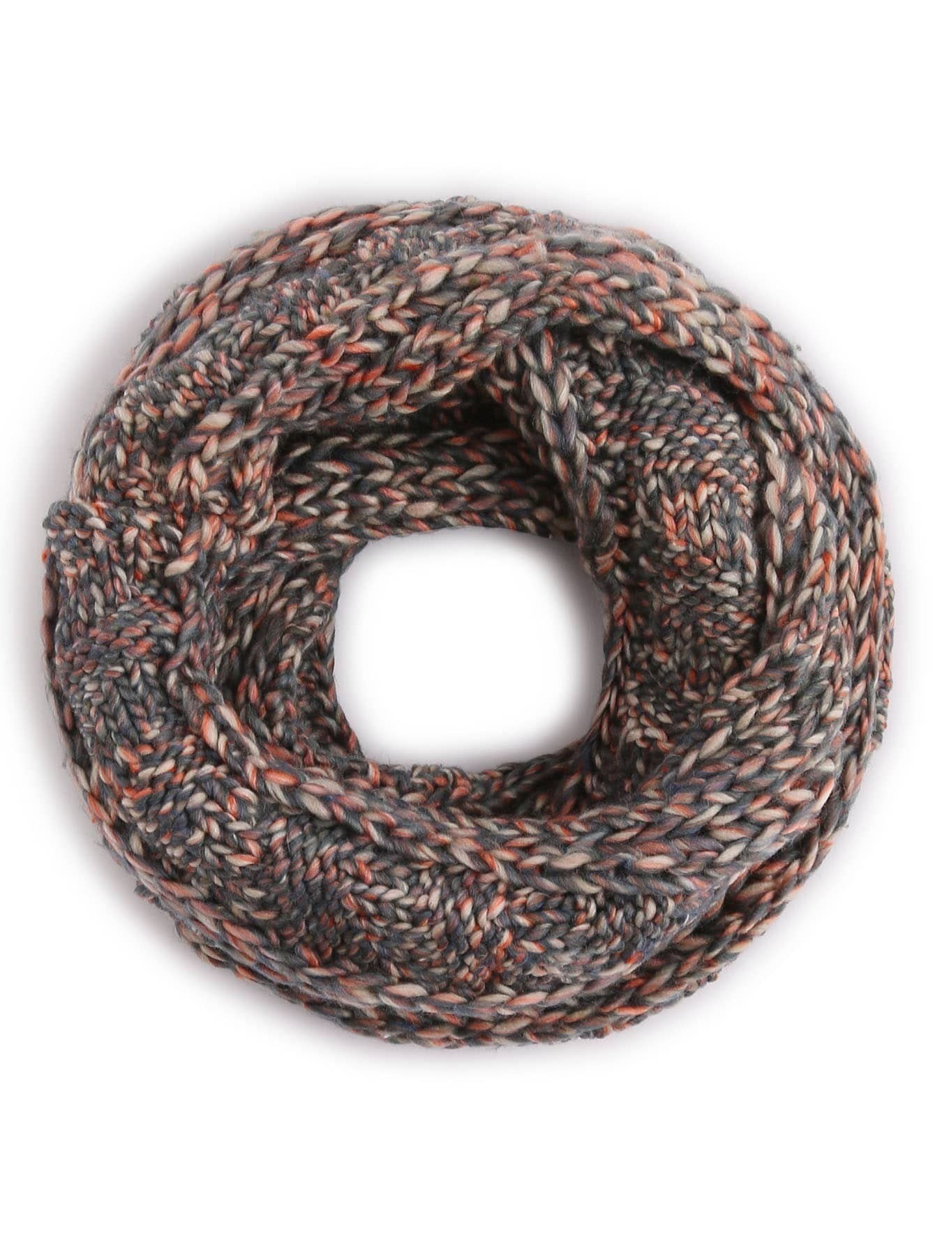 Grey Ribbed Marled Chunky Knit Infinity Scarf