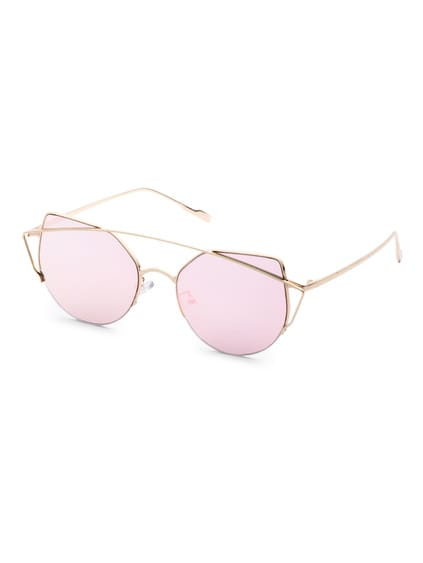 Metal Frame Double Bridge Pink Cat Eye Sunglasses