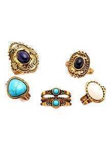 Sets de anillo con piedra preciosa geométrica - dorado