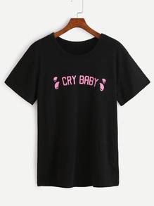 T-shirt imprimé lettres - noir