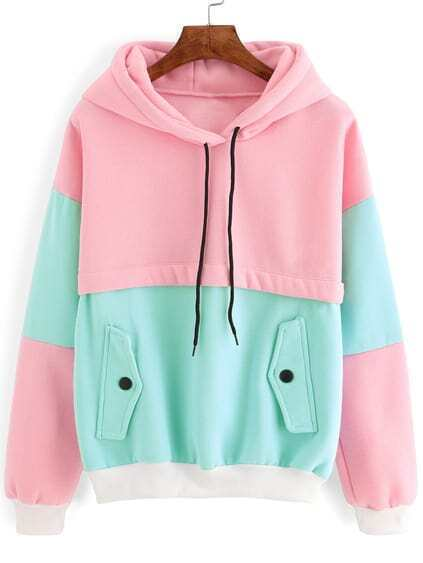 Sudadera con capucha - color block