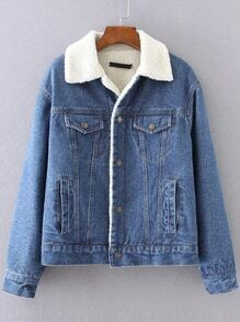 Blue Denim Jacket With Pocket