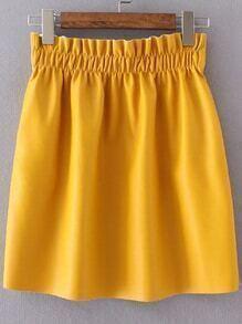 Jupe en cuir PU taille élastique - jaune