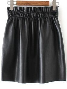 Jupe en cuir PU taille élastique - noir
