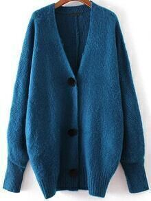 Blue Button Up Loose Sweater Coat