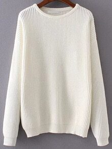 Pull tricoté à nervures col rond - blanc